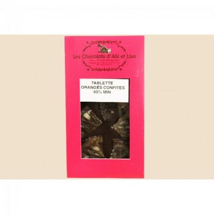 Tablette de chocolat noir 65% à l'orange